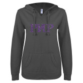 ENZA Ladies Dark Heather V Notch Raw Edge Fleece Hoodie-PHP Purple Glitter