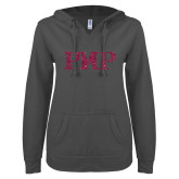 ENZA Ladies Dark Heather V Notch Raw Edge Fleece Hoodie-PHP Hot Pink Glitter