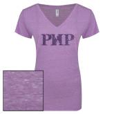 ENZA Ladies Violet Melange V Neck Tee-PHP Purple Glitter