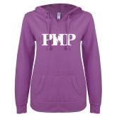 ENZA Ladies Berry V Notch Raw Edge Fleece Hoodie-PHP