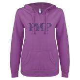 ENZA Ladies Berry V Notch Raw Edge Fleece Hoodie-PHP Purple Glitter
