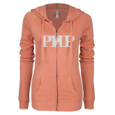 ENZA Ladies Coral Light Weight Fleece Full Zip Hoodie-PHP White Soft Glitter