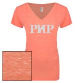ENZA Ladies Coral Melange V Neck Tee-PHP White Soft Glitter