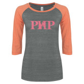 ENZA Ladies Dark Heather/Coral Vintage Triblend Baseball Tee-PHP Coral Soft Glitter