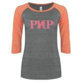 ENZA Ladies Dark Heather/Coral Vintage Triblend Baseball Tee-PHP Coral Soft Glitter