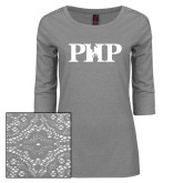 Ladies Grey Heather Tri Blend Lace 3/4 Sleeve Tee-PHP