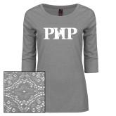 Ladies Grey Heather Tri Blend Lace 3/4 Sleeve Tee-PHP