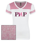 Ladies White/Bright Pink Juniors Varsity V Neck Tee-PHP Foil