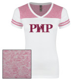 Ladies White/Bright Pink Juniors Varsity V Neck Tee-PHP Hot Pink Glitter