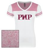 Ladies White/Bright Pink Juniors Varsity V Neck Tee-PHP Hot Pink Glitter