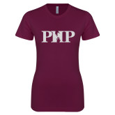 Next Level Ladies SoftStyle Junior Fitted Maroon Tee-PHP White Soft Glitter