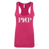 Next Level Ladies Raspberry Ideal Racerback Tank-PHP White Soft Glitter