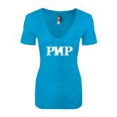 Next Level Ladies Vintage Turquoise Tri Blend V Neck Tee-PHP