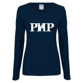 Ladies Navy Long Sleeve V Neck T Shirt-PHP