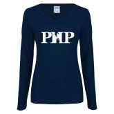 Ladies Navy Long Sleeve V Neck T Shirt-PHP