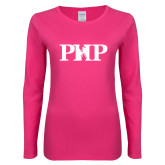 Ladies Fuchsia Long Sleeve T Shirt-PHP