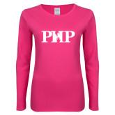 Ladies Fuchsia Long Sleeve T Shirt-PHP