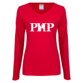 Ladies Red Long Sleeve V Neck Tee-PHP