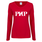 Ladies Cardinal Long Sleeve V Neck T Shirt-PHP