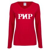Ladies Cardinal Long Sleeve V Neck Tee-PHP
