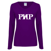 Ladies Purple Long Sleeve V Neck T Shirt-PHP