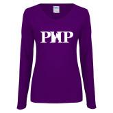 Ladies Purple Long Sleeve V Neck Tee-PHP