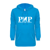 ENZA Ladies Pacific Blue V Notch Raw Edge Fleece Hoodie-PHP People Helping People