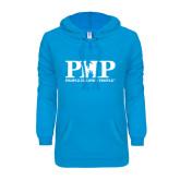 ENZA Ladies Pacific Blue V Notch Raw Edge Fleece Hoodie-PHP People Helping People