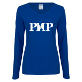 Ladies Royal Long Sleeve V Neck T Shirt-PHP