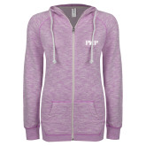 ENZA Ladies Hot Violet Marled Full Zip Hoodie-PHP