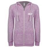 ENZA Ladies Hot Violet Marled Full Zip Hoodie-PHP