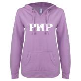 ENZA Ladies Hot Violet V Notch Raw Edge Fleece Hoodie-PHP