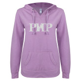 ENZA Ladies Hot Violet V Notch Raw Edge Fleece Hoodie-PHP White Soft Glitter