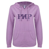 ENZA Ladies Hot Violet V Notch Raw Edge Fleece Hoodie-PHP Purple Glitter
