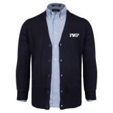 Navy V Neck Cardigan w/Pockets-PHP