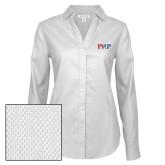 Ladies Red House Diamond Dobby White Long Sleeve Shirt-PHP