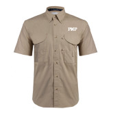 Khaki Short Sleeve Performance Fishing Shirt-PHP