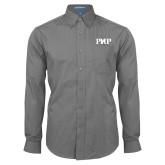 Mens Dark Charcoal Crosshatch Poplin Long Sleeve Shirt-PHP