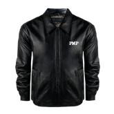 Black Leather Bomber Jacket-PHP