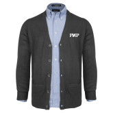 Charcoal V Neck Cardigan w/Pockets-PHP