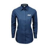 Ladies Deep Blue Tonal Pattern Long Sleeve Shirt-PHP