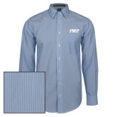 Mens French Blue/White Striped Long Sleeve Shirt-PHP