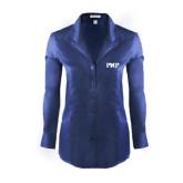 Ladies Red House Deep Blue Herringbone Non Iron Long Sleeve Shirt-PHP