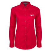 Ladies Red Twill Button Down Long Sleeve-PHP