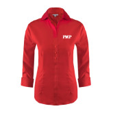 Ladies Red House Red 3/4 Sleeve Shirt-PHP
