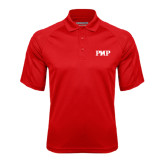 Red Textured Saddle Shoulder Polo-PHP