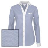 Ladies Red House Diamond Dobby Blue/White Long Sleeve Shirt-PHP