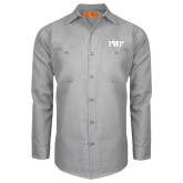 Red Kap Light Grey Long Sleeve Industrial Work Shirt-PHP