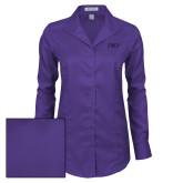 Ladies Red House Deep Purple Herringbone Long Sleeve Shirt-PHP