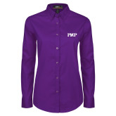 Ladies Purple Twill Button Down Long Sleeve-PHP